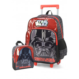 KIT MOCHILA DE RODINHA MASCULINA 2 PÇS STAR WARS ORIGINAL DARTH VADER 34102