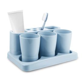 Kit Organizador de Banheiro Porta Escova Dente Jacki Design Azul
