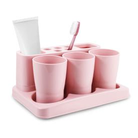 Kit Organizador de Banheiro Porta Escova Dente Jacki Design Rosa