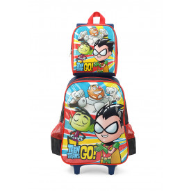 KIT MOCHILA DE RODINHA MASCULINA TEEN TITANS CARTOON NETWORK  ORIGINAL LUXCEL 34282