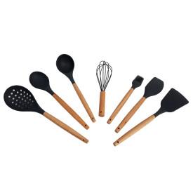 Kit utensilios de silicone cabo de madeira 7 peças cinza