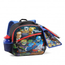 KIT MOCHILA ESCOLAR MASCULINA LANCH ESTOJO SQUEEZE SUPER HEROIS 14534 SEANITE