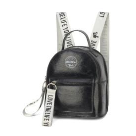 Mini mochila feminina metalizada Barbie ms45804 preta